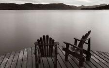 LAKE ART PRINT Two Chairs - James McLoughlin 16x24 Dock Adirondack Chairs Poster