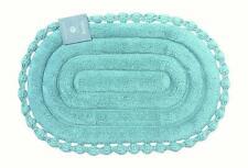 Echo Oval Aqua Spa Blue Cotton Bath Mat Rug with Crochet Border, 21 x 34 Inches