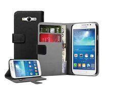 Billetera De Cuero Negro Flip Funda Protectora Pouch Para Samsung Galaxy Grand Neo gt-i9060
