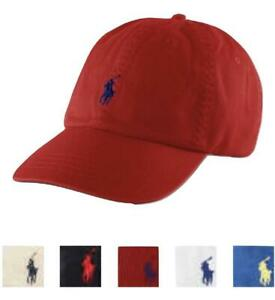 POLO RALPH LAUREN Cotton Chino Baseball Cap Hat Small Pony Adjustable Strap