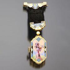 Hoffman Watch Co. 14K Yellow Gold Ladies Enamel Pocket Watch