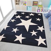 Kids Star Rugs Dark Blue Boys Bedroom Nursery Play Room Carpets Mats Small Large