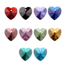50pcs Mix Romantic Valentines Glass Charm Faceted Heart 10mm Pendant Necklace