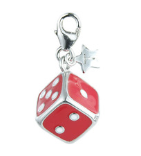 TINGLE Sterling Silver Red Enamelled Dice Charm - Gift Bag & Box SCH103 (£40)