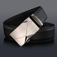 Men's Cow Genuine Leather work Business Casual Metal automatic Buckle Black belt