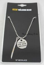 AMC The Walking Dead Sword Leave No One Behind Disc Pendant Shot Bead Necklace