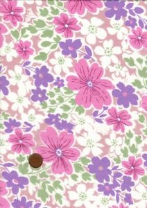 100% Cotton Fabric Vintage 60s Large Floral Pink Lilac Green White Patchwork