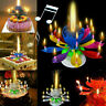 Upgrade Multicolor Rotating Double Lotus Cake Candle