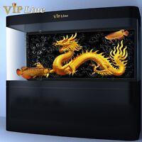 Golden Dragon PVC Aquarium Background Poster 3D Fish Tank Decorations Landscape