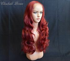 Burgundy Red Mix  Glueless Long Curly Invisible Lace Front Wig 096