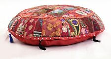 ROUND FLOOR OTTOMAN POUF STOOL FURNITURE PILLOW CHAIR ETHNIC INDIAN DECOR ART