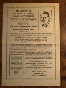 Watchtower RUTHERFORD HANDBILL with RADIO STATIONS (1933)