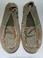 SANUK Womens Shoes Sidewalk Surfer Size 7 Green Gray Red Canvas Casual Rope Sole