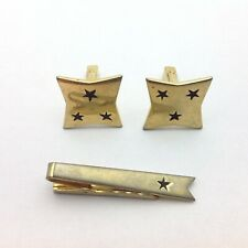 Cuff link and Tie Pin Set Gold Tone and Black Stars