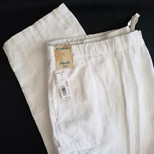Caribbean White Linen Pants Tag 48 x 30 Actual 45 x 29 Roundtree Yorke Cargo New