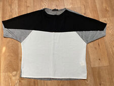 Zara W&B Black White Grey Colour Block T Shirt Top Size S Small