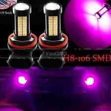 2pcs H11 H8 Purple Pink 106SMD Auto LED Bulbs  For Car truck Fog Lights Lamp