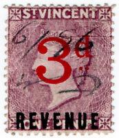 (I.B) St Vincent Revenue : Duty Stamp 3d on 1d OP