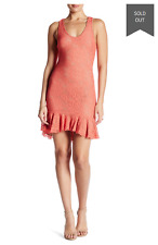 "DRESS THE POPULATION 'WENDY"" SLEEVELESS LACE CORAL DRESS sz M"