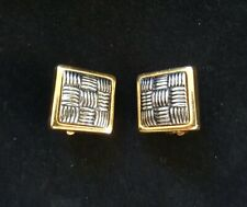 Vintage 1980s Clip-on Earrings Retro, Costume Jewelry, square gold silver 80's
