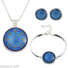 2017 1Set Silver Plated Blue Mandala Time Rhinestone Necklace Bracelet Ear Stud