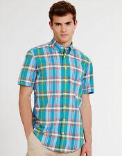 "Mens Gant Nantucket Poplin Check Short Sleeve Shirt Summer 38-40"" Blue NEW"