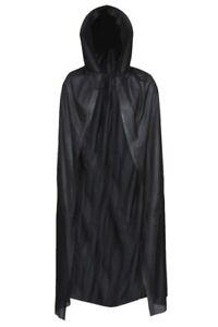 BLACK HOODED CAPE VAMPIRE CLOAK DRACULA HALLOWEEN FANCY DRESS COSTUME PARTY