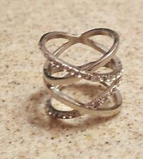 Zirconia Stones Ring Size 7 Womens Fashion Silver Double X w/Cubic
