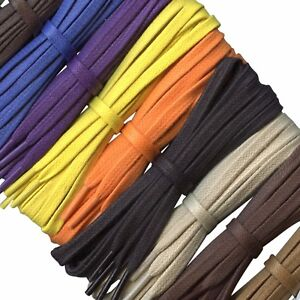 Flat Coloured Waxed Cotton Shoelaces - 5/6 mm - Lengths from 45 cm - 140 cm