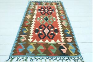 "Turkish Esme Small Kilim, Doormat, Bathmat, Small Area Rug, Carpet Tapis 31""x49"""