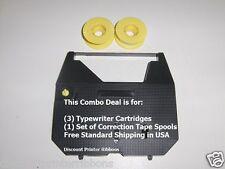Panasonic KXR440 3 Pack Typewriter Ribbon Cartridge + Correction Tape Value Pack