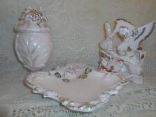 4 Pc.Vintage Pink Betson Porcelain Bird & Rose Vanity Tray Compote Planter Set