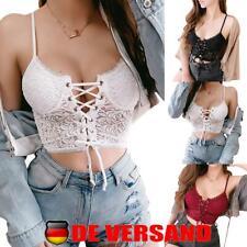 Sexy Damen Spitze Tanktop Trägershirt Bustier Crop Tops Sommer Bralette Camisole