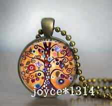 Vintage Tree of Life CABOCHON Bronze Glass Chain Pendant Necklace