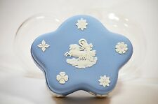 Wedgwood Blue Jasperware Trinket Ring Box Pentefoil Star Diana Chariot Vintage