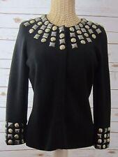 PER SE Womens Black 100% Wool Studded 3/4 Sleeve Cardigan Sweater US Small