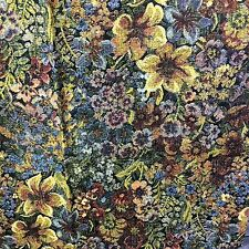 """Material Floral Print Black Background Cotton  33"""" X 44""""  By The Piece"""