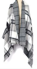 Echo Double Face Plaid Wrap In Black/Gray (Reversible) NEW with Tag