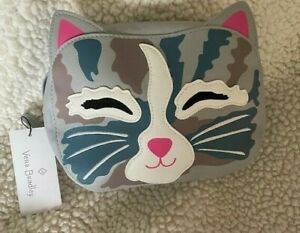 NWT Vera Bradley Iconic Cat Cosmetic Case Cat's Meow Plastic Lined Gray SOLD OUT