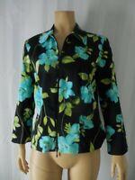 JOSEPH RIBKOFF Jacket size 10 black blue green floral print light weight