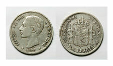 ESPAÑA.  ALFONSO XII.  1 PESETA 1876  DEM.   GOLPECITOS.   BC+