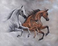 MARE STALLION FOAL bay gray arabian horse art print SHIVAK art MIST