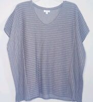 Pure Jill J Jill Womens Size Large Knit Top Casual Textured Stripes brown