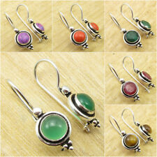 GREEN ONYX & Other Gemstones, OLD STYLE Earrings, 925 Silver Plated ART Jewelry
