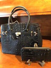 Black Crocodile Vegan Ladies Handbag  Wallet & Detach Shoulder Strap Classic