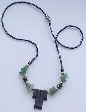 collier vintage en perle hématite et jade vert superbe 556