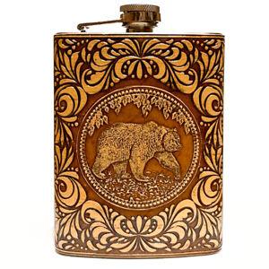 BIRCH BARK Steel Flask Bear, Hip Liquor, Whiskey, #4, 8oz