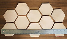 10 Plain Hexagonal Leather Coasters Vegetable Tanned thick Cowhide Crafts 3.5""