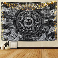 Burning Sun Tapestry Art Wall Hanging Moon Phase and Sun Tapestry For Home Room