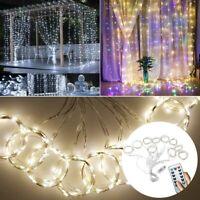 300LED Wedding Curtain Fairy String Lights USB Hanging Window Garden Home Decor